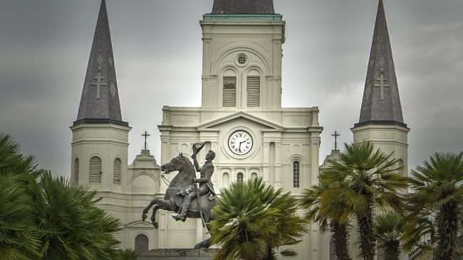 Dec 21, 2017 - General Andrew Jackson statue in Jackson Square next to St Louis Cathedral in New Orleans LA/photonews247.com