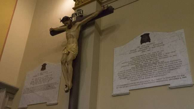 Dec 21. 2017 - Jesus on Cross Sacrificing his life for us at St Louis Cathedral New Orleans LA/photonews247.com