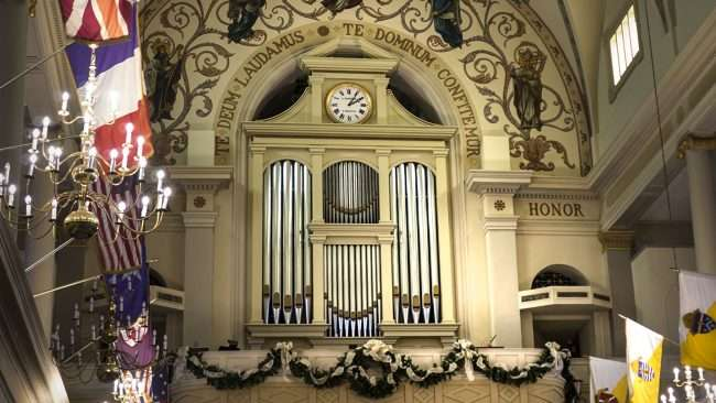 "Dec 21, 2017 - Pipes for organ in 2nd floor balcony at St Louis Cathedral. The Latin 'Te Deum laudamus' means ""Thee, O God, we praise"". The Latin 'Te Dominum confitemur' means O GOD, we praise Thee./photonews247.com"