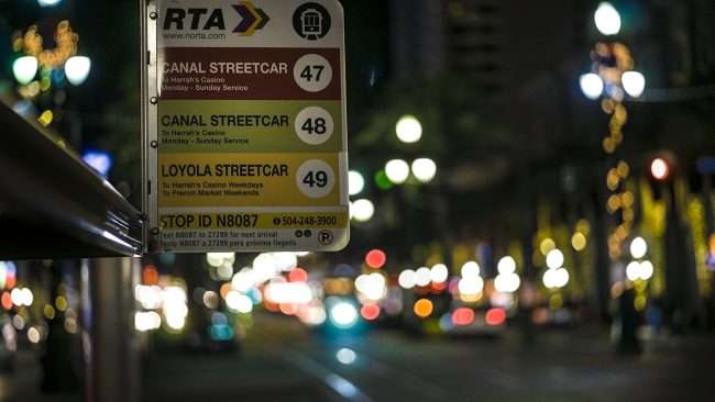 Dec 20, 2017 - RTA Streetcar sign at stop Canal Street New Orleans/photonews247.com