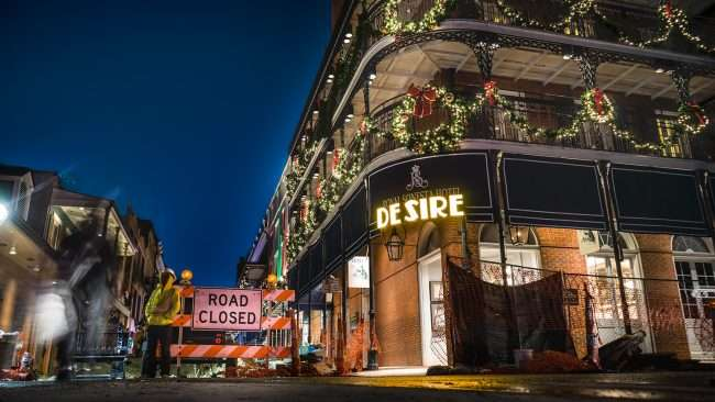 Dec 21, 2017 - Road Closed next to Royal Sonesta Hotel during construction on Bourbon St New Orleans, LA/photonews247.com