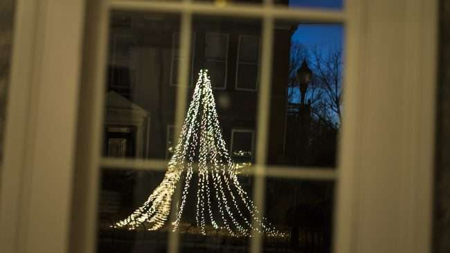 Dec 9, 2017 - Viewing neighbors Christmas tree from library room at Smedley Yeiser Home, Paducah, KY/photonews247.com