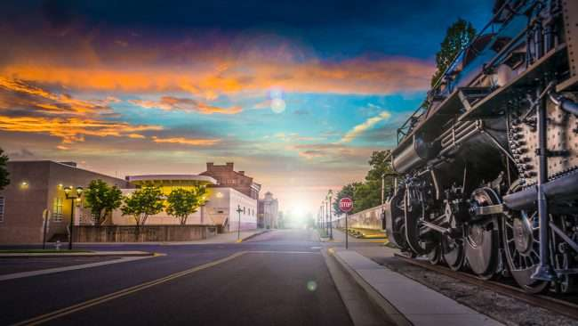 Rendering 2018 - A view of Waters Street with a light in Downtown Paducah next to the ICRR steam engine and Seamens Church Institute/photonews247.com