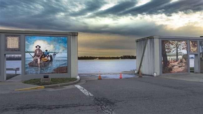 Feb 25, 2018 - Cones blocking Paducah's riverfront at Murals during flood Feb 2018/ craig craig