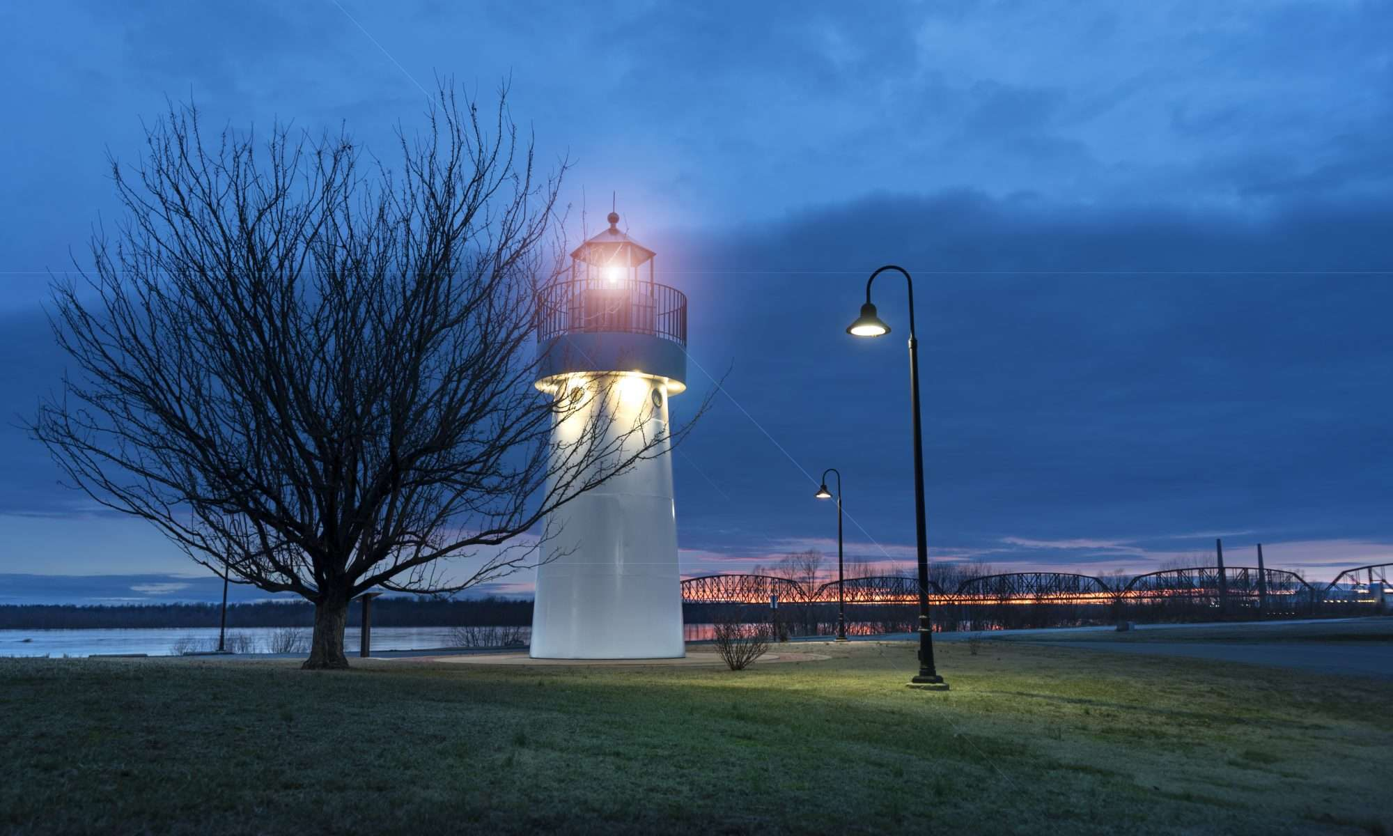 Feb 18, 2018 - LightHouse at night in Dorothy Miller Park on Ohio River in Metropolis IL/craigcurriephotography.com