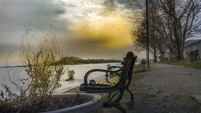Feb 25. 2018 - Paducah riverfront bench during high water flooding Feb 2018/craig craig