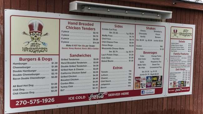 3.19.2018 - Just Hamburgers Paducah Drive Thru Menu/photonews247.com