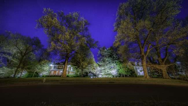 April 19, 2018 - Lighted DogWood Trail in Paducah with home on Jefferson Avenue decorated with floodlights/photonews247.com