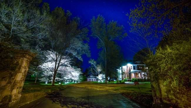 April 19, 2018 - Lighted DogWood Trail in Paducah - homeowners installed decorated lighting on property for DogWood Trail 2018 /photonews247.com