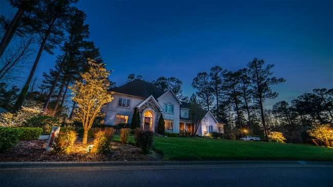 April 26, 2018 - Lighted Dogwood Trail Paducah with home decorated with floodlights/photonews247.com