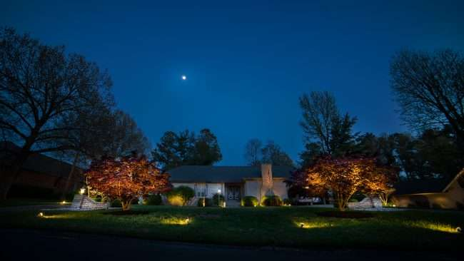April 26, 2018 - Lighted Dogwood Trail Paducah home lighted with floodlights/photonews247.com