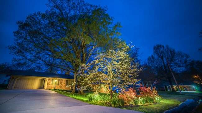 April 24, 2018 - Lighted Dogwood Trail Paducah house decorated with floodlights/photonews247.com