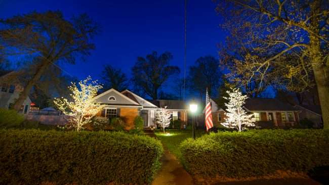 Paducah's Lighted Dogwood Trail featuring home with lighted dogwood trees/photonews247.com