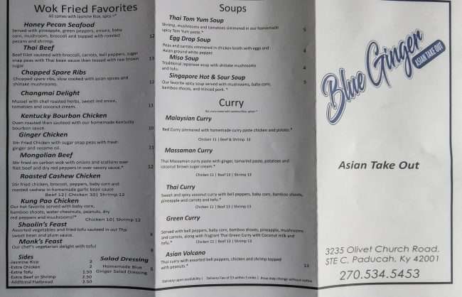 Menu Blue Ginger Asian Take Out restaurant on Olivett Rd, Paducah, KY pg 1/photonews247.cm