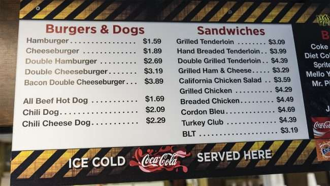 03.19.2018 - Menu prices burgers & dogs at Just Hamburgers in Paducah, KY/photonews247.com