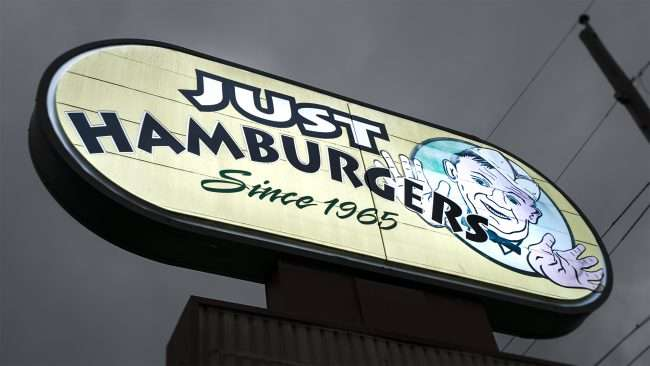 3.16.2018 - Outdoor signage at Just Hamburgers in Paducah, KY/photonews247.com