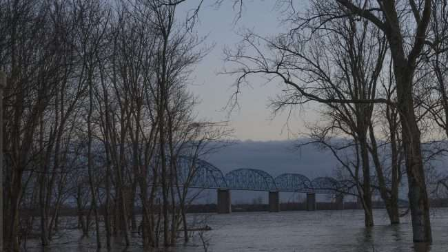 03.07.2018 - Brookport Illinois flooded at banks of flooded Ohio River with Brookport Irvin Cobb Bridge in background/photonews247.com