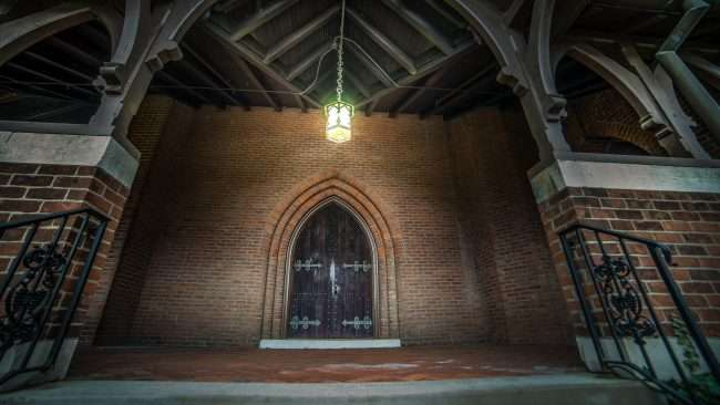April 15, 2018 - Front lighted entrance at Grace Episcopal Church on Broadway Main Street in Historic downtown Paducah/photonews247.com