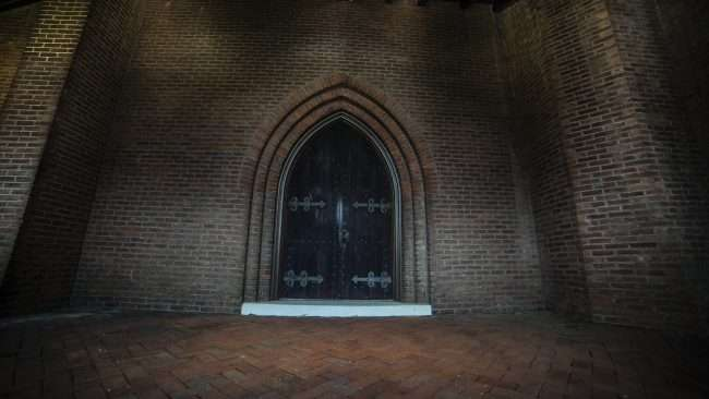 April 15, 2018 - Love and Grace abounds just behind this Gothic wooden door at Grace Episcopal Church on Broadway Main Street in Historic downtown Paducah/photonews247.com