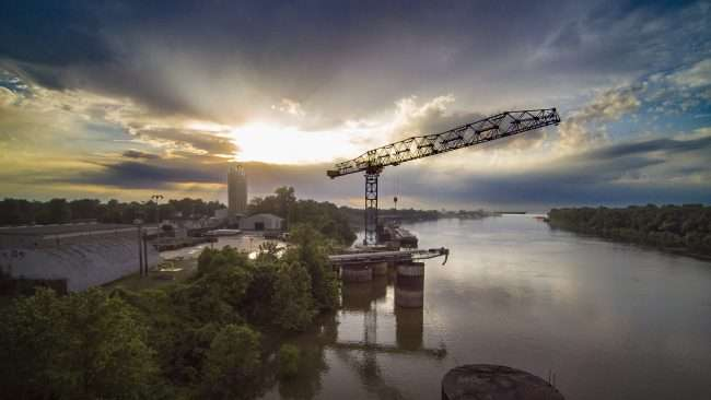 Aerial Photography of Paducah and Mccracken County Riverport Authority tower crane/Drone Photography by Bob Dwyer