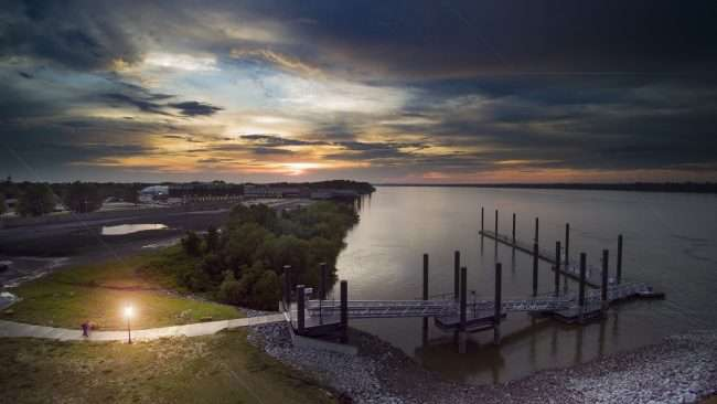 2018 Aerial Photography of bock dock on Ohio River in Historic Downtown Paducah, KY/Drone Photography by Bob Dwyer