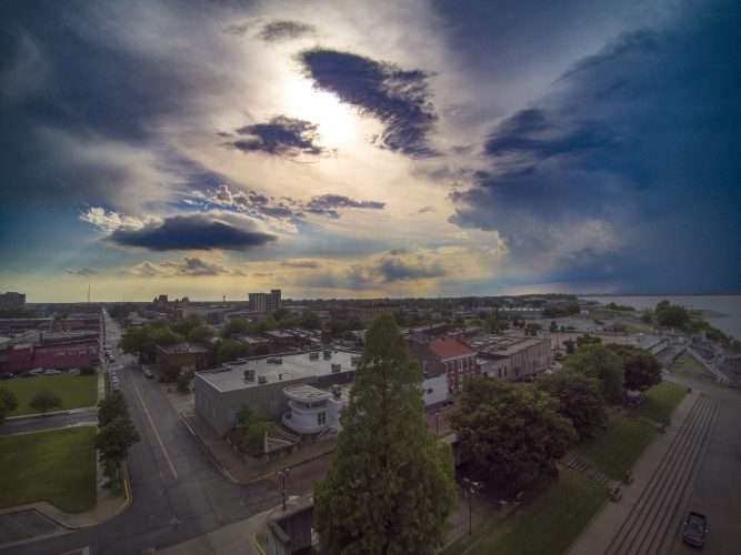 ariel drone skyline view of historic downtown paducah kydrone photography by bob dwyer