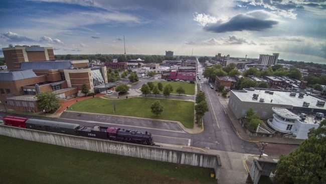 Animated Aerial Drone photography of Carson Center in Historic downtown Paducah, KY/Bob Dwyer 2018