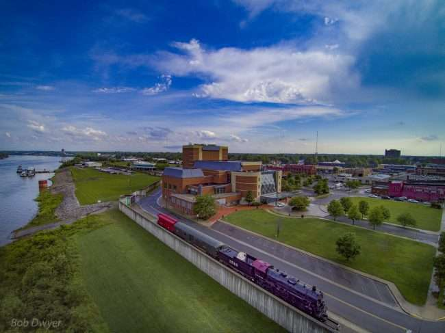 Aerial skyline view of animated of Carson Center in Historic downtown Paducah, KY/Drone Photography by Bob Dwyer 2018
