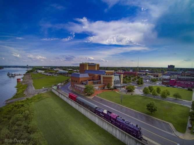 aerial skyline view of animated of carson center in historic downtown paducah kydrone