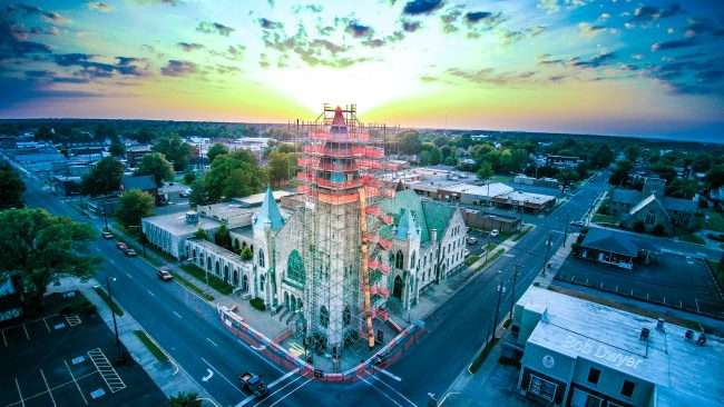 Aerial skyline view of construction at Broadway United Methodist Church in Historic Downtown Paducah/Drone Photography by Bob Dwyer