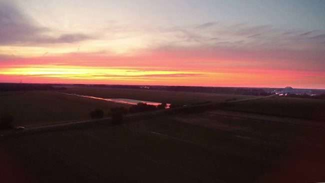 2016 - Drone photo during sunset of Brookport Bridge in Paducah, KY by drone photographer Bob Dwye