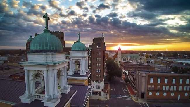 2016 - Aerial drone view of Broadway Street in historic downtown Paducah at Francis Church and Irvin Cobb Apartments/2016 Drone Photography by Bob Dwyer