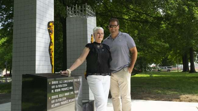 May 28, 2018 -Nathan Torian with Mother, Mrs Torian, standing next to Global War on Terrorism Memorial Monument Paducah in honor of her son MSGT. Aaron C. Torian and all who have served/photonews247.com