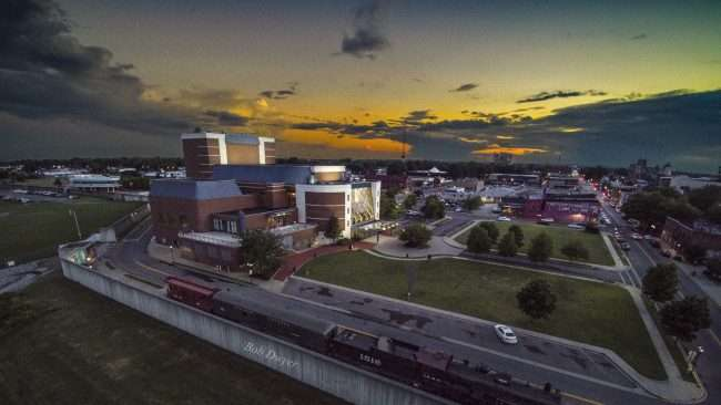 Paducah drone aerial Landscape at sunset by Carson Center