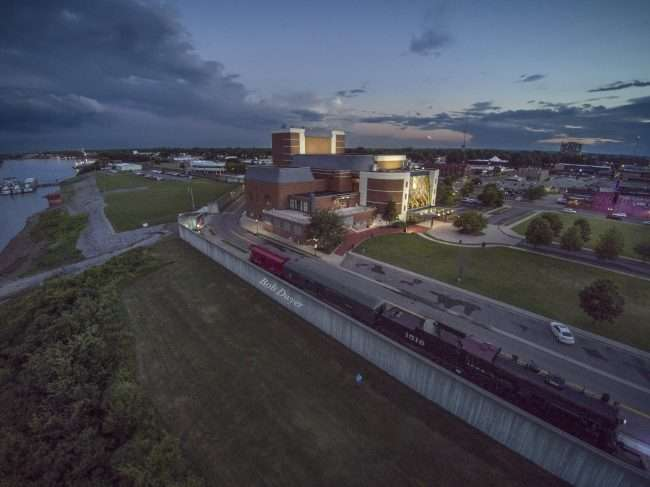 Paducah historic downtown sunset aerieal view Carson Center, train