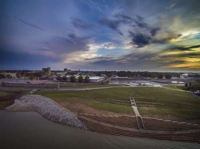 Aerial drone skyline view of Schultz Park on Ohio River by new Transient Boat Dock in Downtown Paducah/Drone Photography by Bob Dwyer 2018