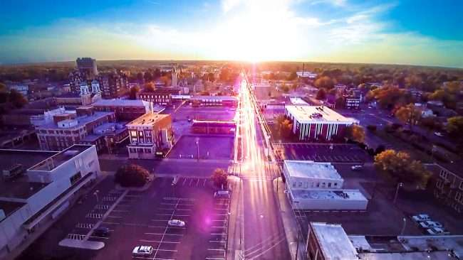 Aerial drone view of Jefferson Street in historic downtown Paducah at sunset by drone Photographer MelonManBob 2016