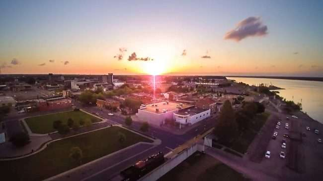 2016 - Aerial drone view of Paducah's Main Street section of historic downtown Paducah at sunset/Drone Photography by Bob Dwyer