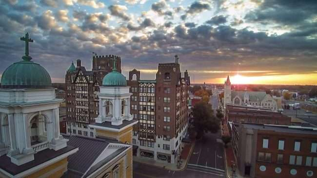 2016 - Aerial view of Broadway Street in historic downtown Paducah at Francis Church and Irvin Cobb Apartments taken by drone photographer MelonManBob in 2016