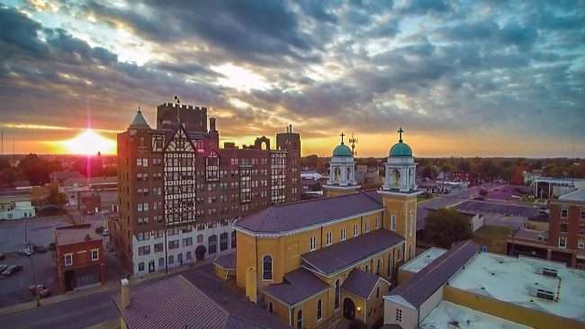 2016 - Aerial view historic downtown Paducah at Saint Francis Church and Irvin Cobb Apartments taken by drone photographer Bob in 2016