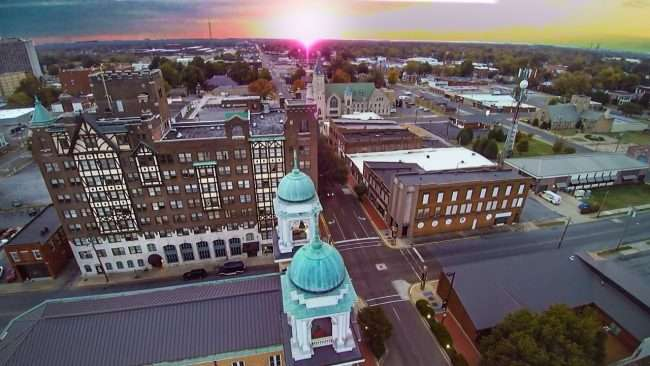 2016 - Aerial view of Broadway Street in historic downtown Paducah at Francis Church and Irvin Cobb Apartments/ 2016 Drone Photography by Bob Dwyer