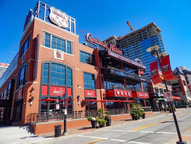 Cardinal Nations at Ballpark Village and One Cardinal Way Apartments in view.