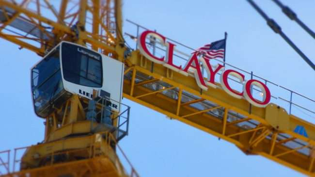 Clayco Crane at top of 100 Above the Park in St. Louis on May 23, 2020.