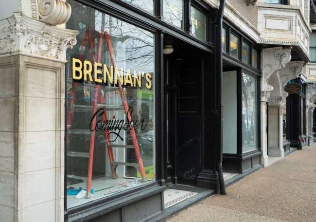 Brennan's Coming Soon signage by Phil Jarvis Artis