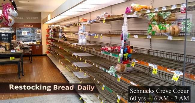 Schnucks Creve Couer low on bread during Covid 19 Quarantine Lockdown. (March 2020)