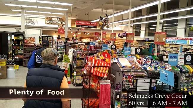 Schnucks Creve Couer line with 60 years old and above at 6:30 AM during Covid-19 Quarantine Lockdown. (March 2020. (March 2020)