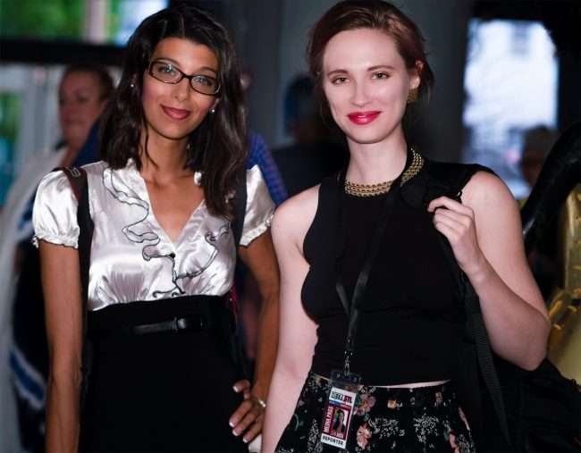 Ashley Salazar from Metro STL and Sam Auch at Saint Louis Fashion Fund. cedit craig currie