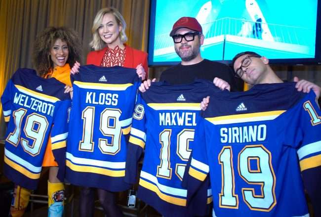 Kloss team with Blues Hockey Jersey at The Last Hotel. credit craig currie