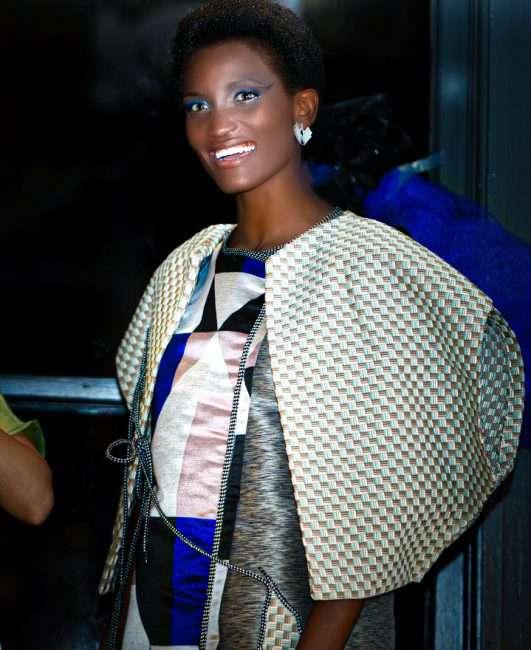 Model wears Yasi Fayal at Saint Louis Fashion Fund. credit craig currie