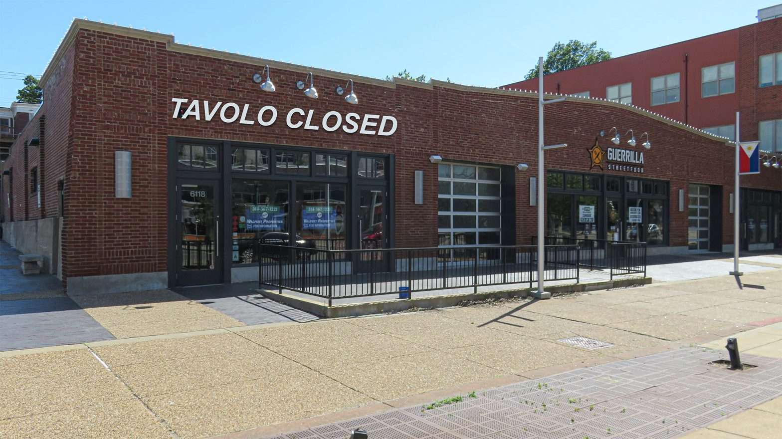 TAVOLO V Italian Restaurants cl;osed its doors permanently April 2020 on The Delmar Loop due to the Pandemic. (photo Craig Currie on June 1, 2020.